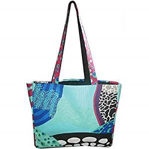 Blue, Black and Aqua Coral Reef Motif Tote Bag