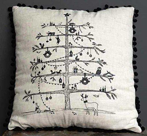Creative Co-Op White Christmas Collection Square Linen Blend Pillow with Decorated Tree & Pom Poms
