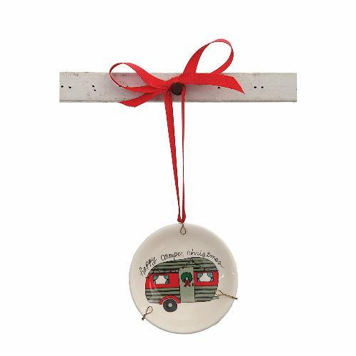 Creative Co-Op Happy Camper Christmas Plate Ceramic Hanging Tree Ornament
