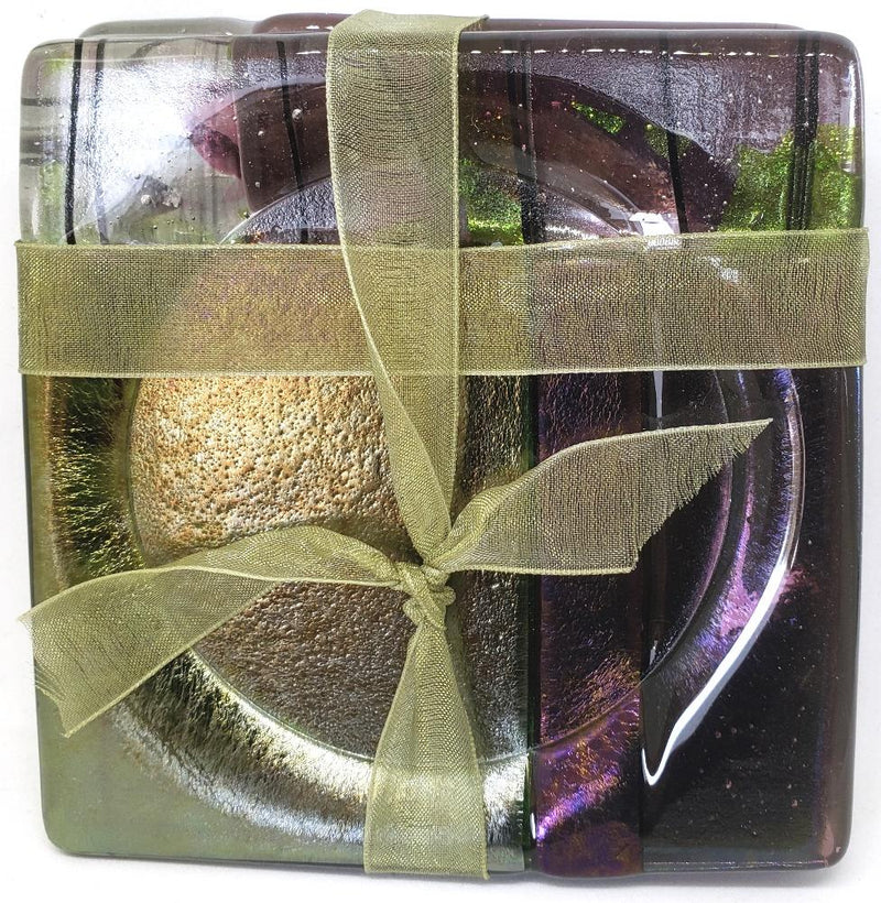 ME2U Woodlands Fused Glass Coaster, Set of 4, Choice of Color
