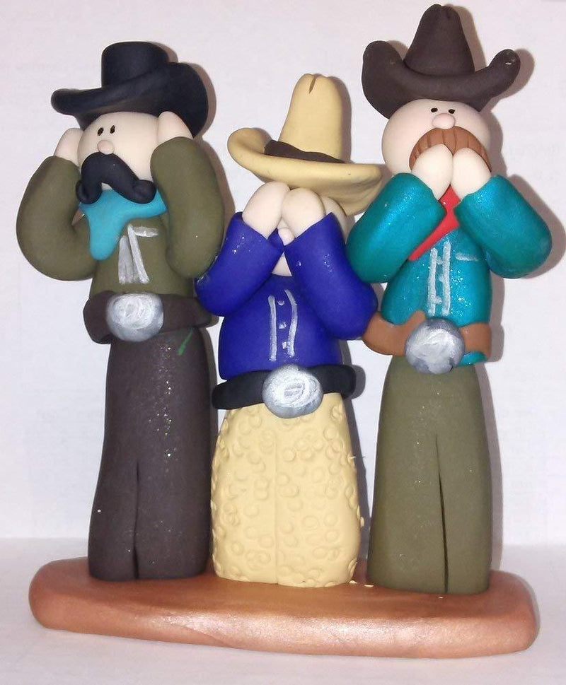 GP Originals Hear No, See No, Speak No Evil, Handmade Cowboy Trio Figurine