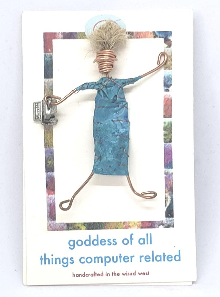 Christine Olmsted Design Goddess of All Things Computer Related Handmade Woman Pin