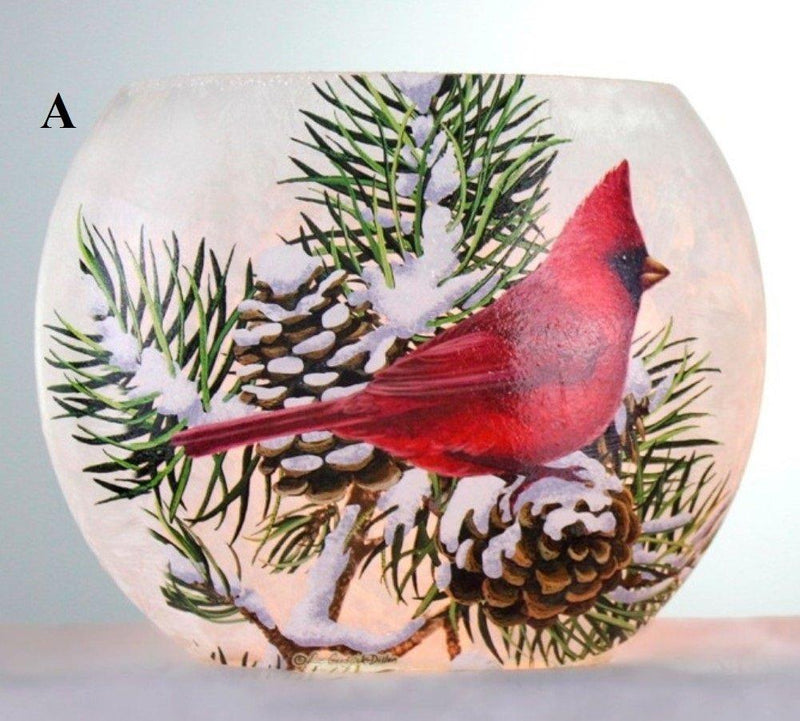 Stony Creek Winter Snow Birds Collection Lighted Oval Glass Vase, Choice of Style