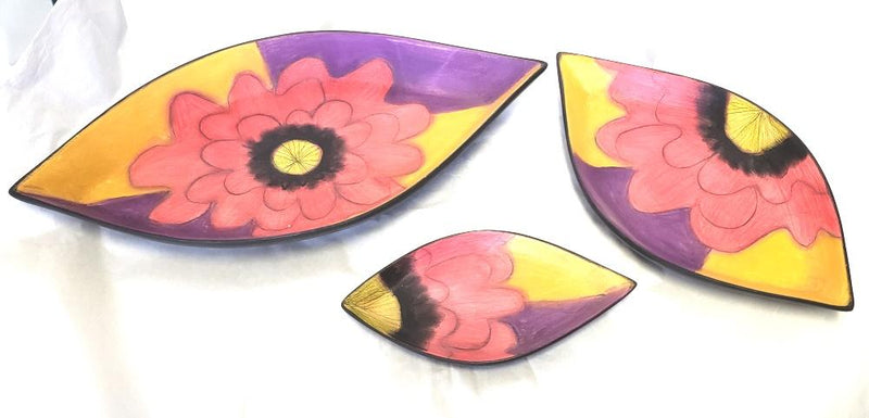 "Double Creek Pottery Handcrafted Flower""Leaf-Shaped"" Bowl, Set of 3"