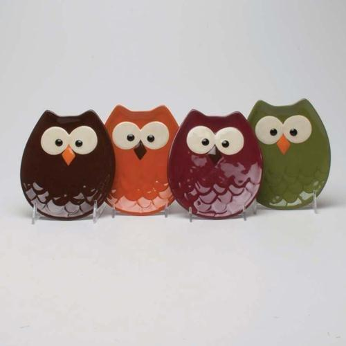 TAG Owl-Shaped Appetizer Plates - Set of 4