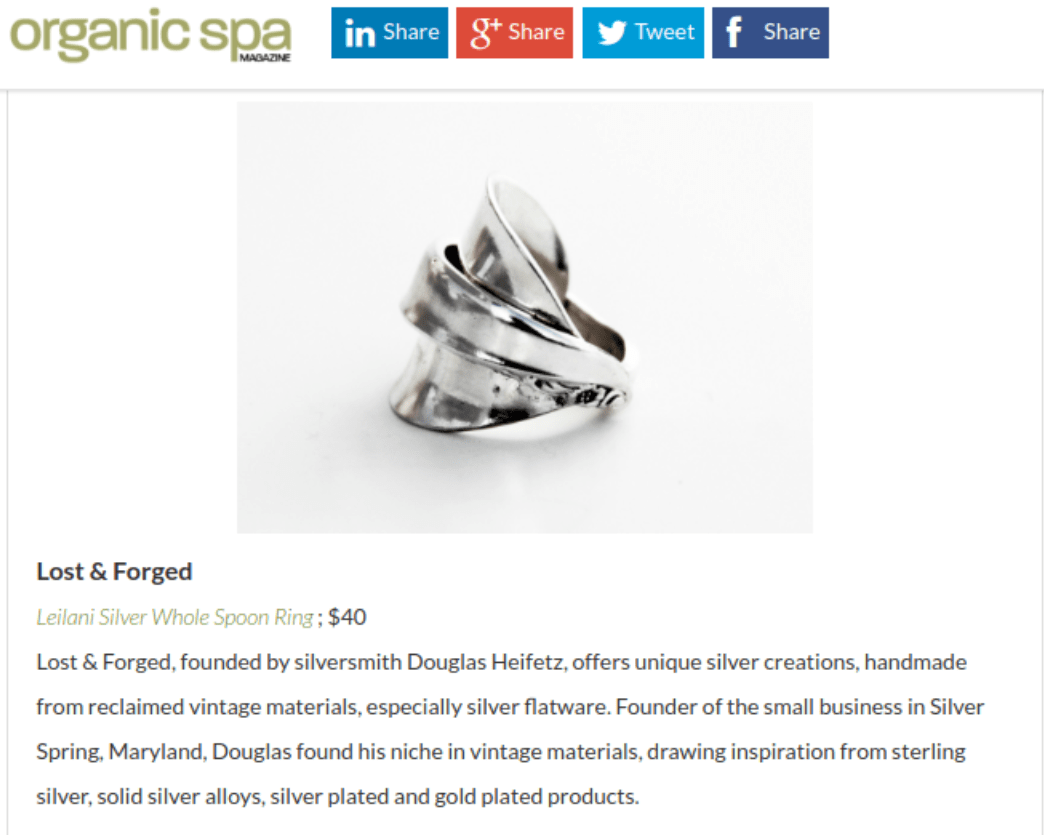 Spoon Ring Featured on the Organic Spa Magazine website...