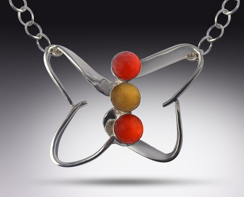 Butterfly Fork Necklace with Carnelian & Citrine gemstones