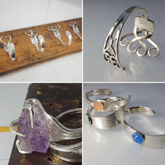 Silver spoon ring, fork bracelet and other silver flatware creations