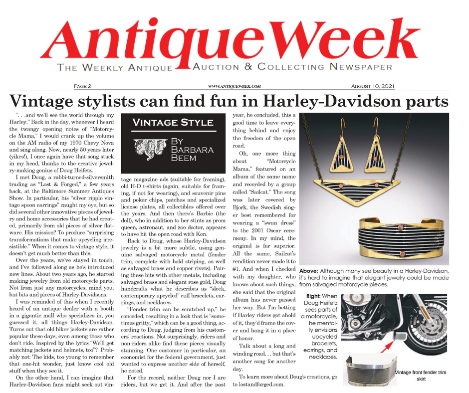 Harley Davidson Motorcycle Parts Jewelry Collection article from Antique Week