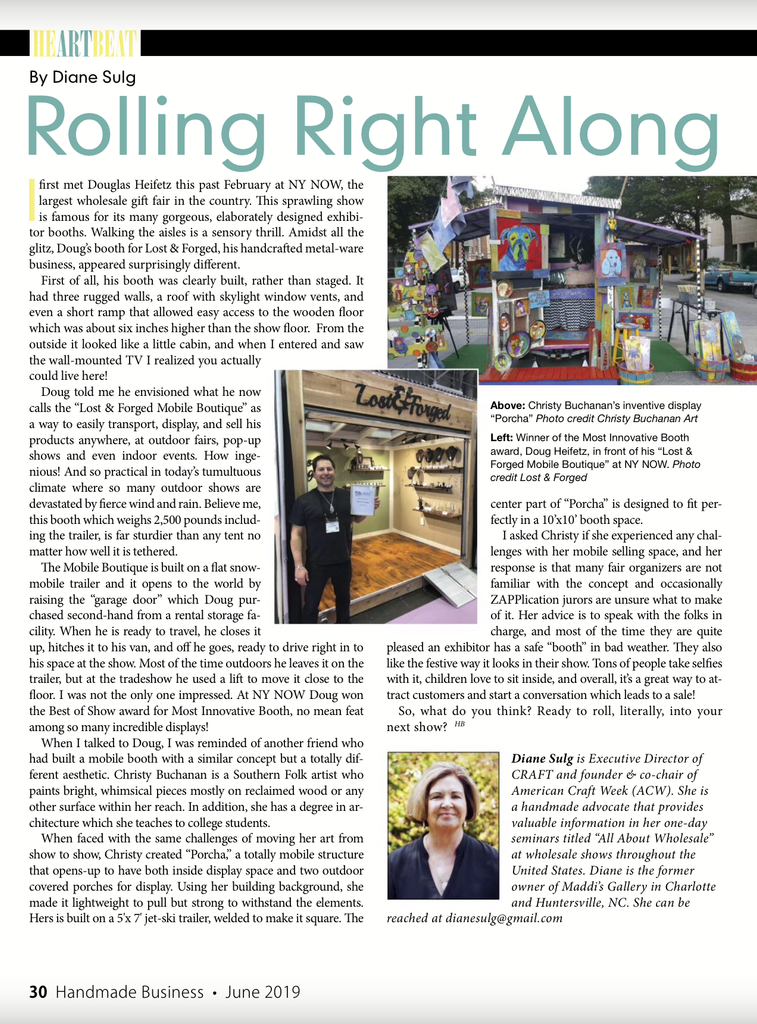 Handmade Business Magazine column on Lost & forged