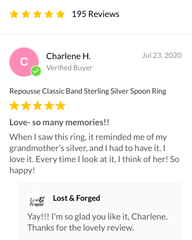 Repousse Spoon Ring Customer Review