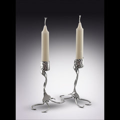 Twisted Fork Silver Candlesticks LostAndForged