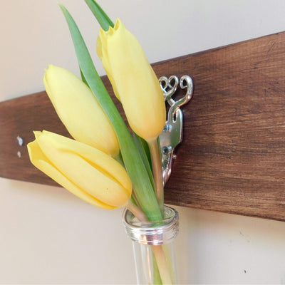 accessories Twisted Fork Silver Bud Vase Wall Sconce
