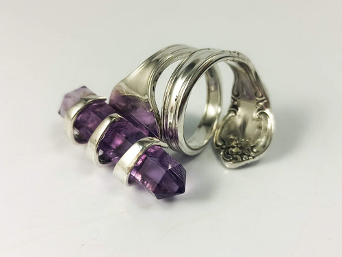Amethyst Crystal Gold Cocktail Fork Cocktail Ring