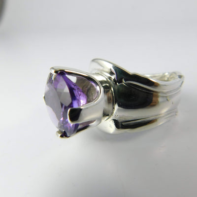 Amethyst Princess Spoon Ring, Sterling Silver with Prong-Set Natural Amethyst Gemstone
