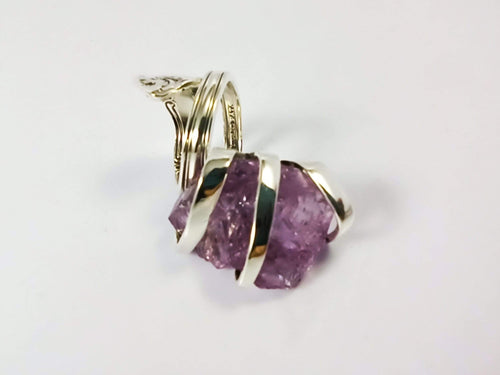 Cocktail Fork Cocktail Ring, with a Raw Amethyst Gemstone