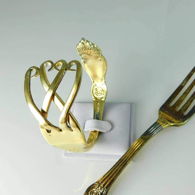 Fork Bracelet Open Hearted Gold Fork Bracelet