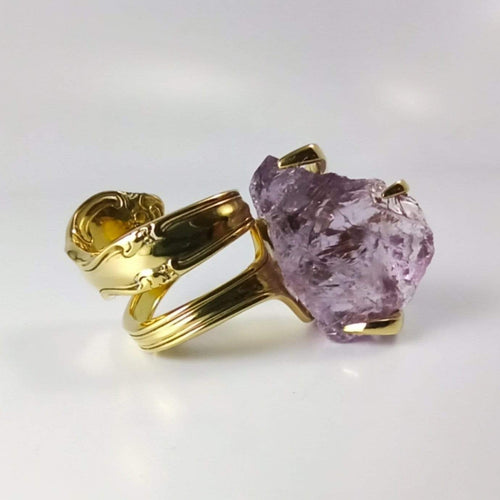 Gold Cocktail Fork Cocktail Ring, with a Raw Amethyst Gemstone