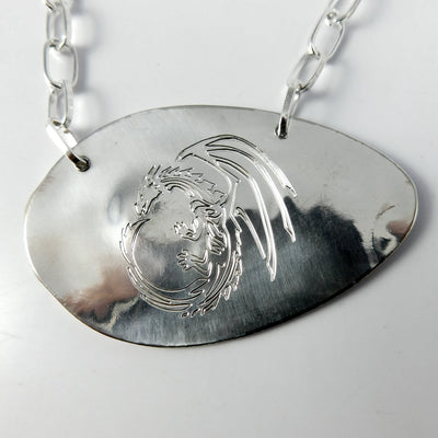Jewelry Engraved Dragon Silver Spoon Necklace
