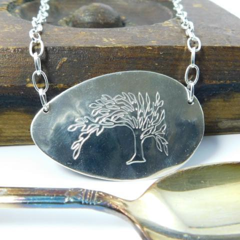Jewelry Engraved Tree of Life Silver Spoon Necklace