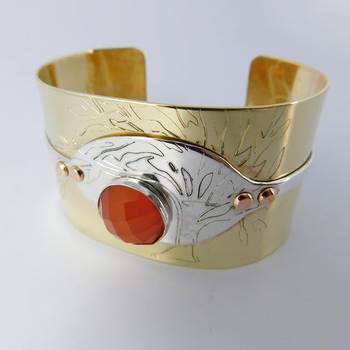 Jewelry Engraved Tree of Life Spoon Bracelet, with Carnelian Gemstone & Brass Cuff