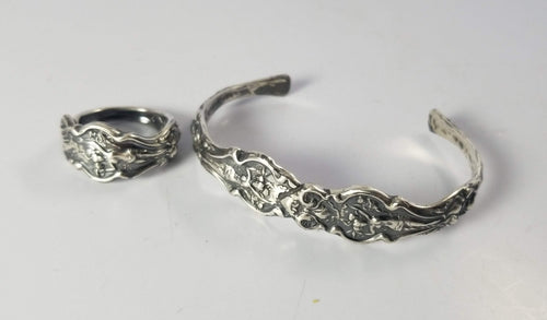 Jewelry Goddess Nouveau Sterling Silver Antique Flatware Cuff Bracelet