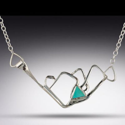 Jewelry Mountain Range Necklace with Triangle Turquoise Stone, Silver Fork Necklace