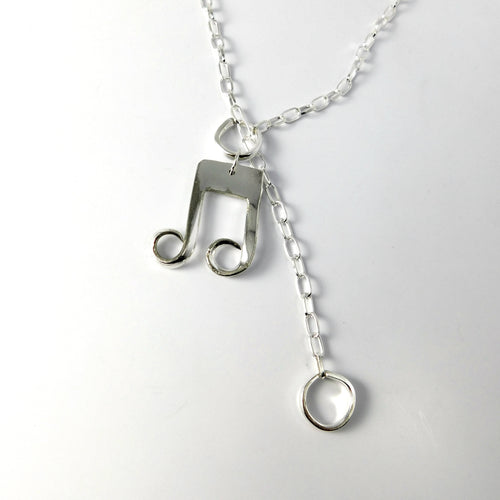 "Jewelry ""Music In Four Fork Tines"" Silver Fork Necklace"