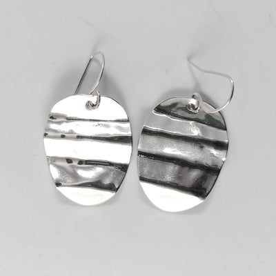 Jewelry Silver Ripple Vintage Spoon Earrings
