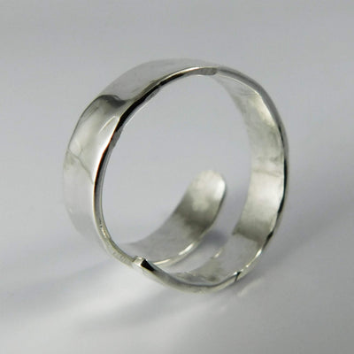 Jewelry Silver Streak Adjustable Fork Tine Ring, Sterling Silver