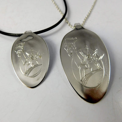 Jewelry Statue of Liberty Engraved Silver Spoon Necklace