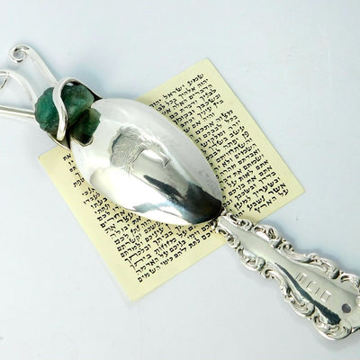 Judaica Silver Mezuzah Case with Rough Emerald, Flatware Mezuzah Judaica