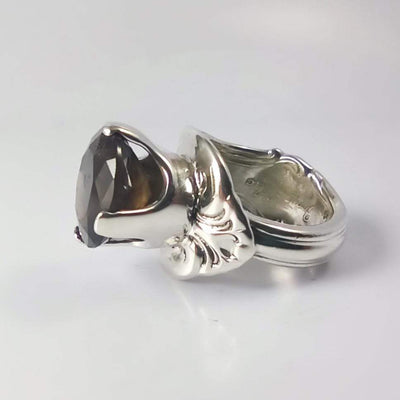 Smoky Quartz Princess Spoon Ring, Sterling Silver with Prong-Set Natural Smoky Quartz Gemstone