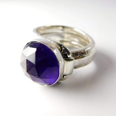 spoon ring Amethyst Gemstone Sterling Silver Classic Band Spoon Ring