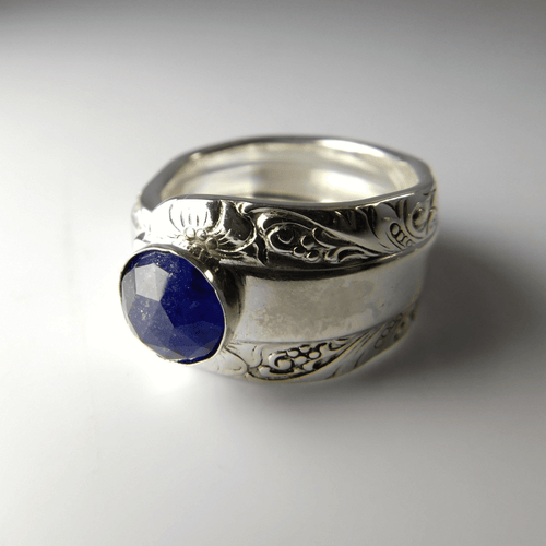 spoon ring Blue Sapphire Gemstone Sterling Silver Classic Band Spoon Ring
