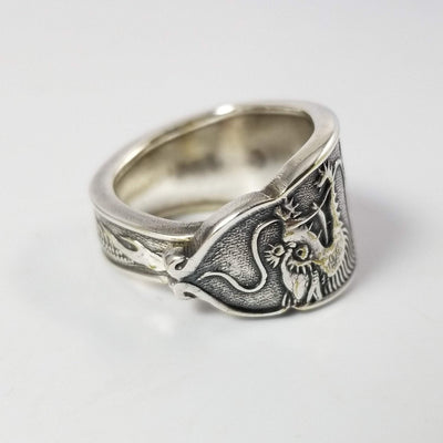 spoon ring Dragon Spoon Ring, Classic Band Shape, Silver & Brass
