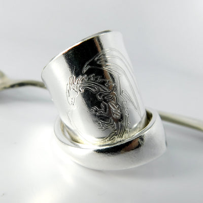 spoon ring Engraved Dragon Silver Whole Demitasse Spoon Ring