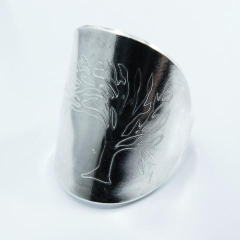 spoon ring Engraved Tree of Life Silver Trim Handle Demitasse Spoon Ring