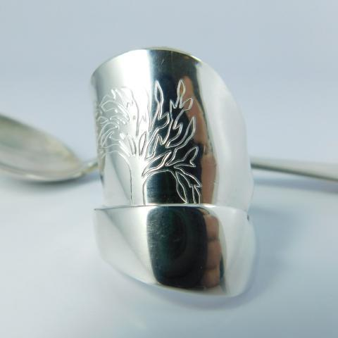 spoon ring Engraved Tree of Life Silver Whole Demitasse Spoon Ring