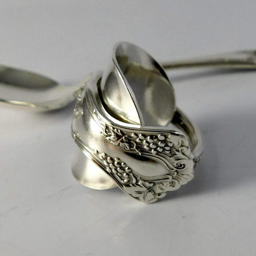 spoon ring Grape Cluster Silver Whole Demitasse Spoon Ring