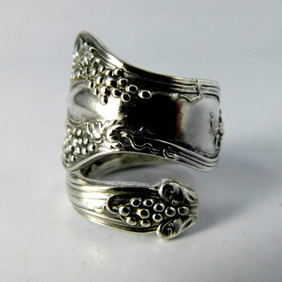 spoon ring Grape Cluster Spiral Twist Silver Spoon Ring