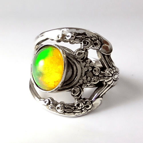 spoon ring Lattice Nouveau Sterling Silver Spoon Ring with Opal Gemstone