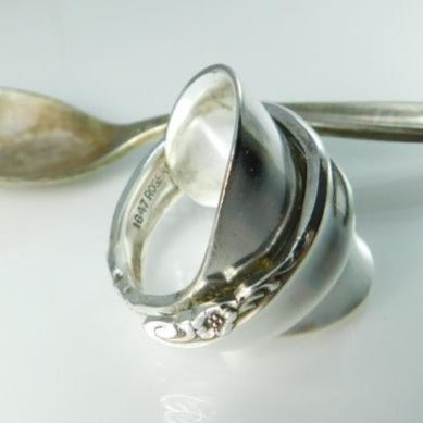 Rose Sprig Silver Whole Spoon Ring