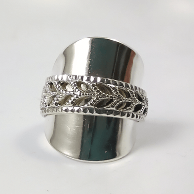 spoon ring Pierced Solid Silver Norwegian Whole Spoon Ring