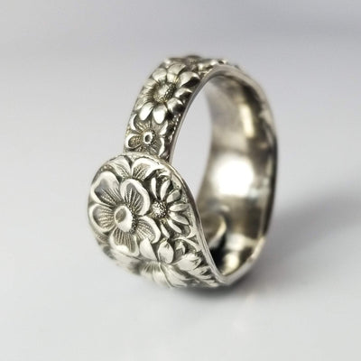 spoon ring Repousse Classic Band Sterling Silver Spoon Ring