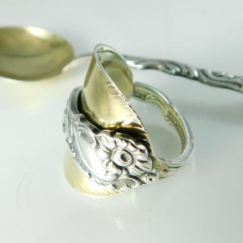 spoon ring SOLD OUT - Floralism Two Tone Vintage Demitasse Gold Spoon Ring