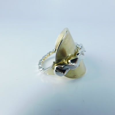 spoon ring Square Twist Two Tone Antique Gold Washed Sterling Silver Whole Spoon Ring