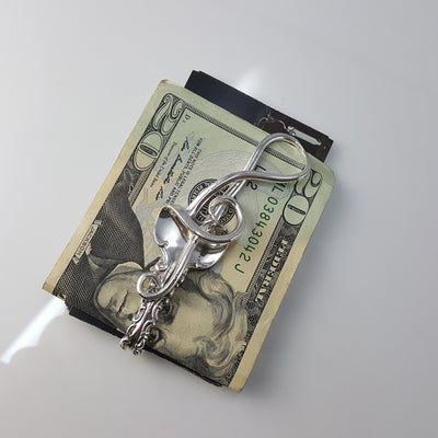Treble Clef Silver Fork Money Clip / Card Holder