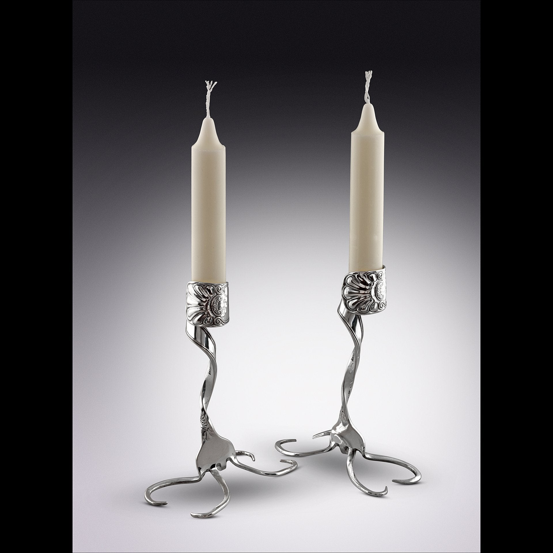 Twisted Fork Silver Candlesticks, Large