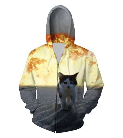 3D Hoodies - 3D Cat Zipper Hoodies